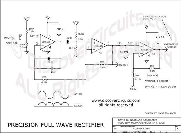 Circuit Precision Full Wave Rectifier designed by Dave Johnson, P.E. (Feb 12, 2002)