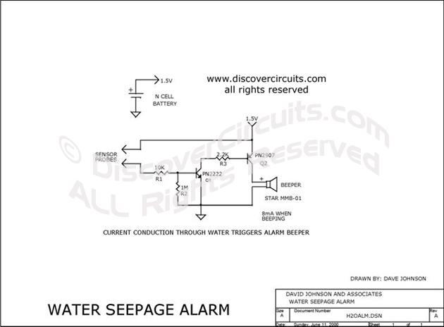 Circuit Water Seepage Alarm designed by David A. Johnson, P.E. (June 11, 2000)