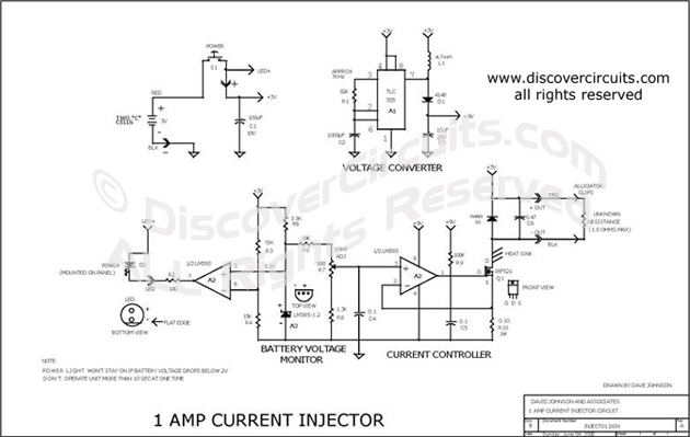 Circuit 1 AMP Current Injector designed by David A. Johnson, P.E.