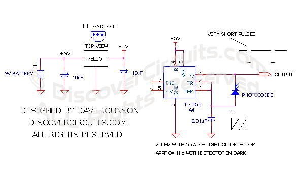 Circuit Light to Frequency Converter designed by David Johnson