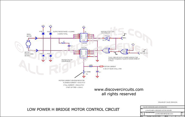 Circuit Lower Power H Bridge Motor Control Circuit designed by David A. Johnson, P.E.