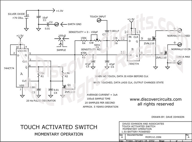 Circuit Touch Activated Switch designed by Dave Johnson, P.E. (January 18, 2002)