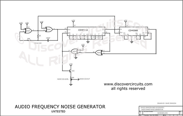 Circuit Audio Frequency Noise Generator designed by David A. Johnson, P.E. (March 12, 2002)