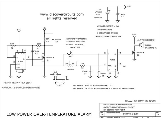 Circuit Low Power Over-Temperature Alarm designed by Dave Johnson, P.E. (June 4, 2000)