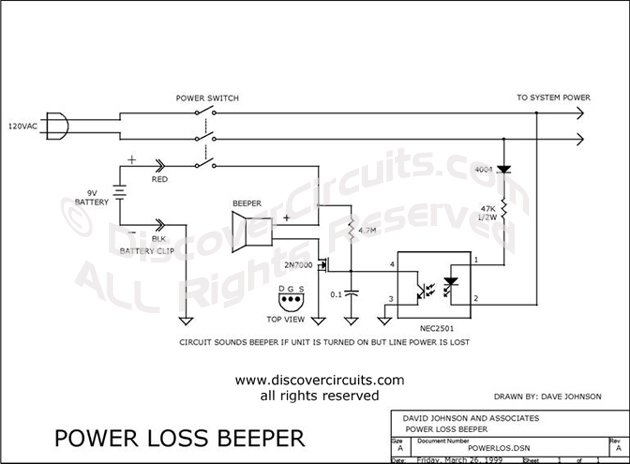 Circuit Power Loss Beeper designed by Dave Johnson, P.E. (March 26, 1999)