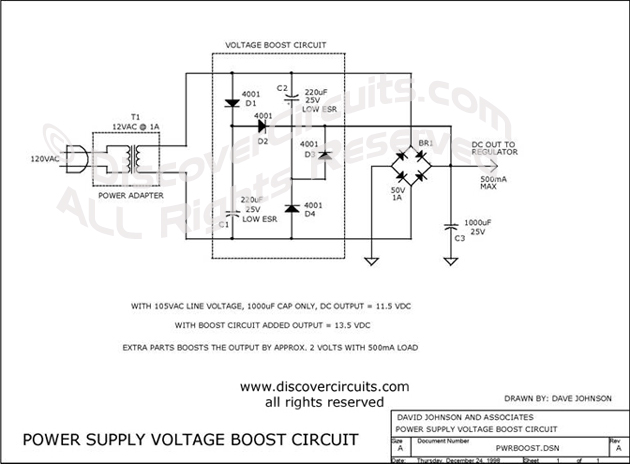 Circuit Power Supply Voltage Boost Circuit designed by David A. Johnson, P.E. (Dec 24, 1998)