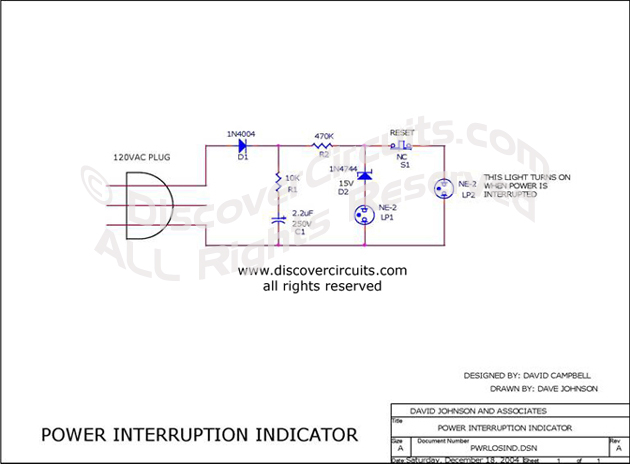 Circuit Power Interruption Indicator designed by David Campbell. (Dec 18, 2004)