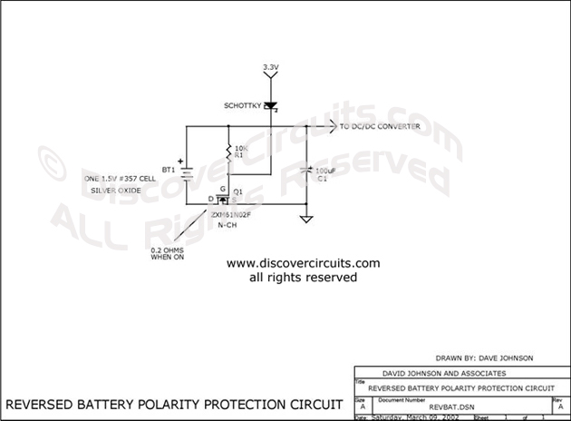 Circuit Reversed Battery Polarity Protection Circuit designed by David A. Johnson, P.E. (March 9, 2002)