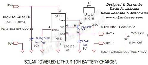 Circuit Circuit Solar Powered Lithium Ion Battery Charger designed by David Johnson