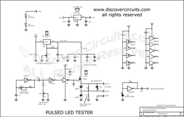 Circuit Pulsed LED Tester designed by Dave Johnson, P.E.