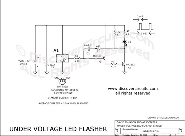 Circuit Under Voltage LED Flasher designed by David Johnson, P.E. (Dec 24, 1998)