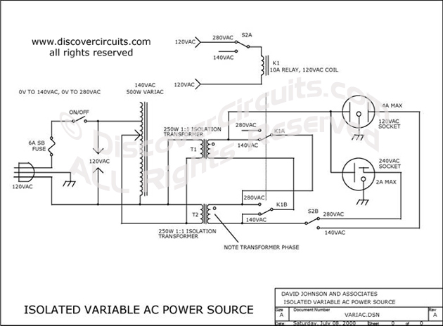 Circuit Isolated Variable AC Power Source designed by Dave Johnson, P.E.