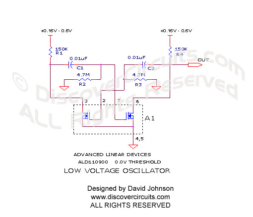 Circuit Circuit Oscillator Very Low Voltage designed by David Johnson