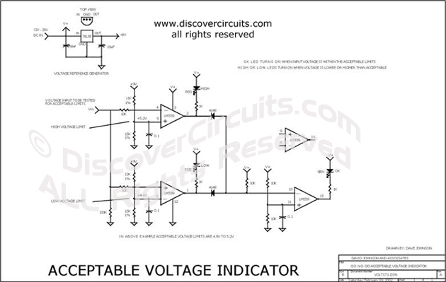 Circuit Acceptable Voltage Indicator designed by David Johnson, P.E.