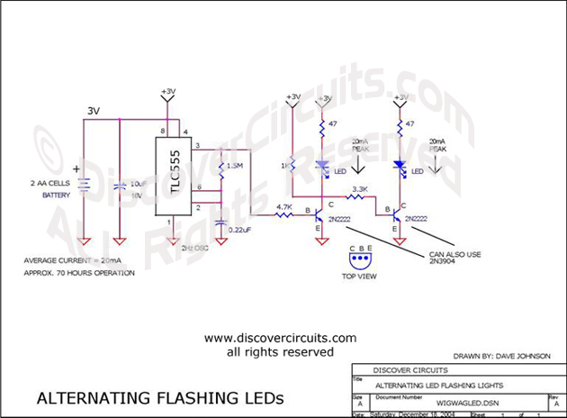 Circuit Alternating Flashing LEDs designed by David Johnson, P.E. (Dec 18, 2004)