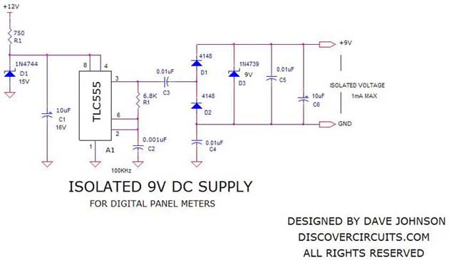 schematic-isolated power supply for digital panel meters